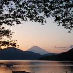 芦ノ湖から見る富士山の夕焼け