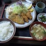 国道8号線沿い蒸気茶屋のフライ定食