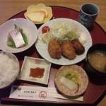糸魚川駅前膳処くろひめ日替わりランチ牡蠣フライと刺身定食